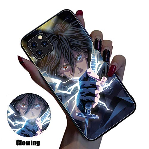 JZWDMD Anime Art iPhone 11 Case, Naruto Sasuke Anime Manga Luces LED Creativas Llamadas entrantes Flash Cover Anti-Scratch Clear Back Case para iPhone 11