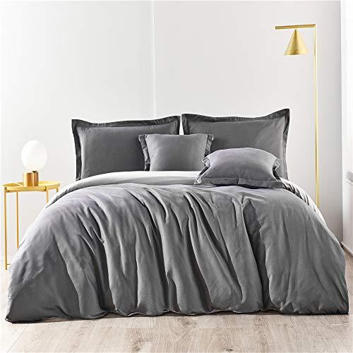 Wajade - Juego de ropa de cama reversible (135 x 200 cm), color gris y antracita