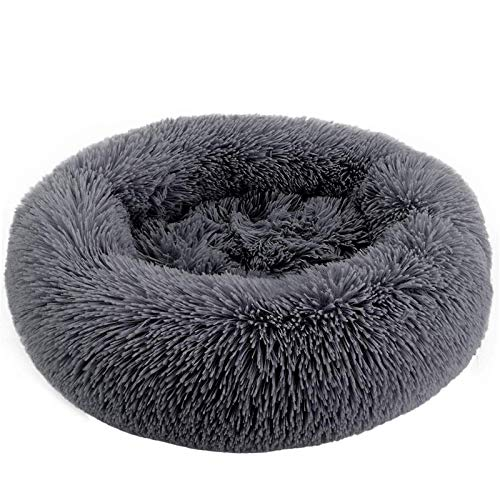 ZEJEUER Soft Washable Comfortable Pet Bed Round Nest Sleeping Sofa for Cats and Dogs GS010 (Diameter:27 inches (70cm), Dark Grey)