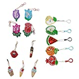 5D Diamond Painting Key Chains, DIY Full Drill Special Shaped Diamond Painting Keychains Gifts Ice Cream Lipstick&Fruit &Roses 14 Pcs by Tangbr