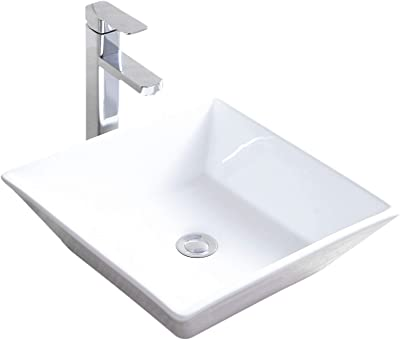 Mecor 16 X 16 Beveled Square White Porcelain Ceramic Basin Vessel Vanity Sink Bowl Bathroom With Pop Up Drain Amazon Com