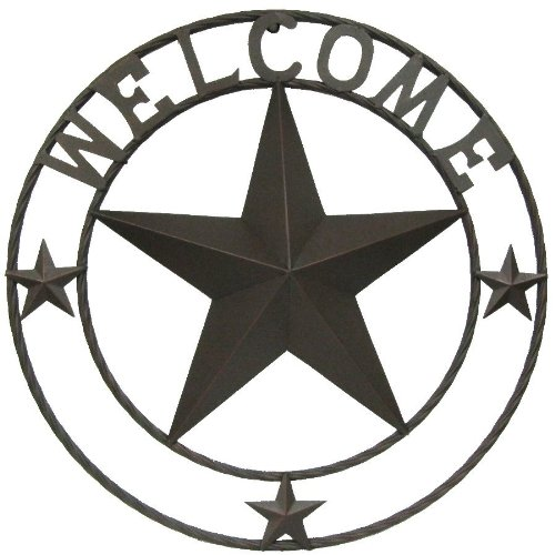 LL Home Metal Circled Star with Welcome Sayings