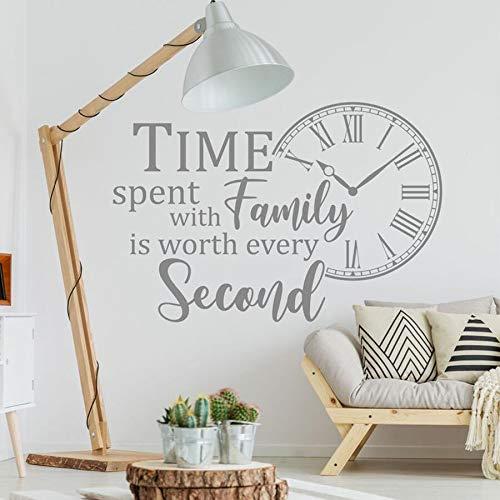 HFDHFH Cotizaciones Pegatinas de Pared Pasar Tiempo con su Familia Vale Cada Segundo Reloj pequeño Sala de Estar Decoración del hogar 57X84CM