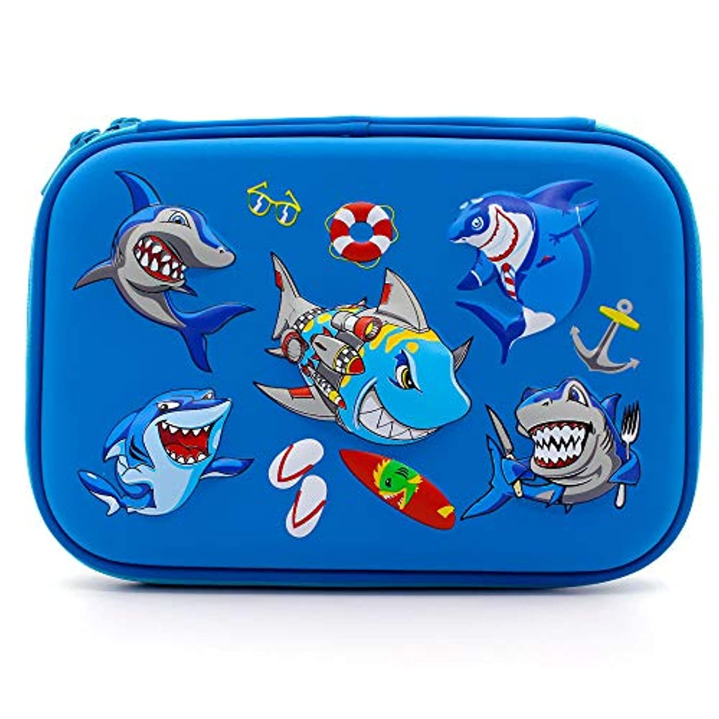 Angry Shark Boys Cool Pencil Case - Large Capacity Hardtop Pencil Box with Compartments - Colored Pencil Holder School Supply Organizer for Kids Girls Toddlers Children (Royal Blue)