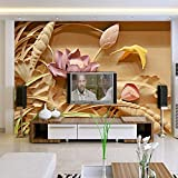 3D Murales Papel Pintado Pared Calcomanías Decoraciones Printing Imitation Wood Carving Lotus Chinese Style Living Room Backdrop Art Art º Chicas Dormitorios (W)250X(H)175Cm