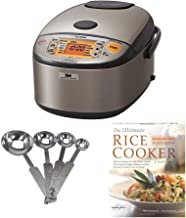 Zojirushi NP-HCC10XH Induction Heating System Rice Cooker and Warmer, 1 L, Stainless Dark Gray PLUS Measuring Spoons and C...
