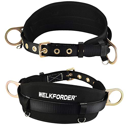 WELKFORDER Tongue Buckle Body Belt with Hip Pad and 2 Side D-Rings Personal Protective Equipment Safety Harness   Waist Fitting Size 30   to 45   for Work Positioning, Restraint