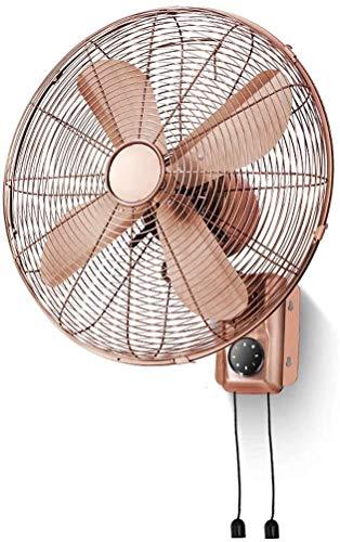 GTBF Ventilador de Pared Retro de Metal de 16 Pulgadas, Ventilador mecánico/de Control Remoto, Ventilador de Pared, 3 velocidades, Cabeza de agitación, 100W, Cobre Retro (Color: mecánico)