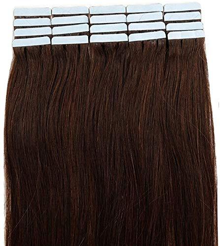Tape Extensions Echthaar 40 Tressen 100g Echthaar Extensions Tape In Haarverlängerung Glatt #2 Dunkelbraun (18zoll-45cm)
