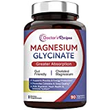 Doctor's Recipes Magnesium Glycinate for Men & Women, 90 Caps, Amino Acid Chelated, High Absorption, Easy on Stomach, Calm, Bone, Muscle, Heart, Energy, Nerve, Sleep, Cramp Defense, No Soy Gluten