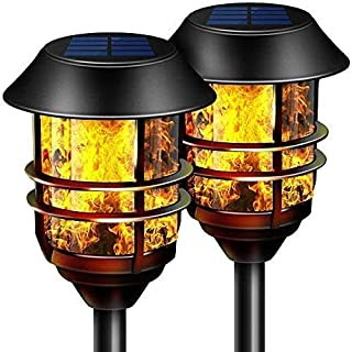 "Camabel 55"" Tall Solar Torches Lights 2 Pack with Flicking Flame 100% Metal LED Solar Light Outdoor Dancing Stainless Stee..."