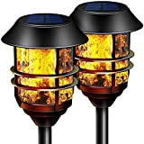 Camabel 55' Tall Solar Torches Lights 2 Pack with Flicking Flame 100% Metal LED Solar Light Outdoor Dancing Stainless Steel Walkway Lighting for Garden Yard Decor Waterproof Pool Path