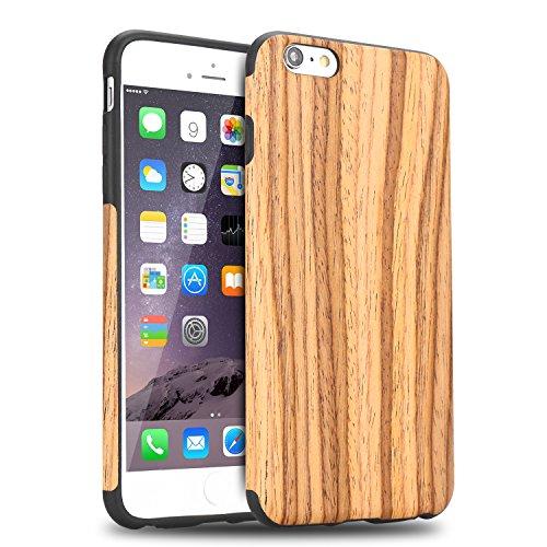 TENDLIN Cover iPhone 6s Legno Ibrida Silicone TPU Flessibile Custodia per iPhone 6 And iPhone 6s, in Legno di Teak
