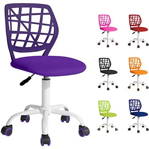 Beltom Sedia ergonomica da scrivania cameretta Computer casa Studio Ufficio Studenti Adolescenti, Ideale per Bambini. Regolabile in Altezza e Girevole a 360° - Viola