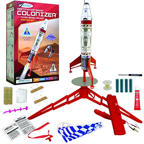 United Model 5322 Destination Mars Colonizer Model Rocket Starter Set - Includes Rocket Kit (Beginner Skill Level), Launch Pad, Launch Controller, Glue, Four AA Batteries, and Two Engines