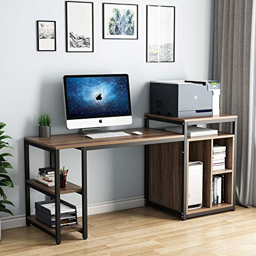 Tribesigns Computer Desk with Storage Shelf, 47 inch Home Office Desk with Printer Stand & 23 inch Bookcase, Writing PC Table with Space Saving Design,Dark Walnut