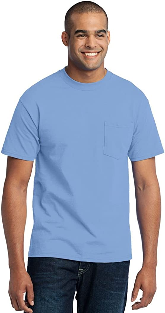 Port & Company Tall 50/50 Cotton/Poly T-Shirt with Pocket-3XLT (Light Blue)