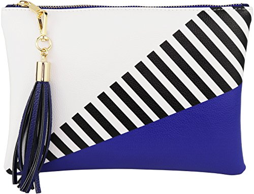 B BRENTANO Vegan Clutch Bag Pouch with Tassel Accent (Blue)