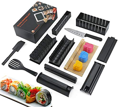 15 in 1 Sushi Making Kit, Sushi Roller kit with 8 Sushi Rice Roll Mold Shapes, Easy DIY Sushi Maker Tools with Bamboo Sushi Mat, Prefect Home Sushi Tool
