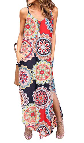 Kyerivs Women's Summer Casual Loose Dress Beach Cover Up Long Cami Maxi Dresses with Pocket_Circle Print_M