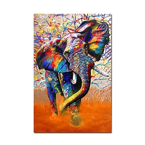 Modern Canvas Schilderij Afrikaanse Kleur Wilde Dieren Poster En Prints Olifant Leeuw Regenboog Jager Schilderij Grafische Slaapkamer Huisdecoratie 50 * 75cm