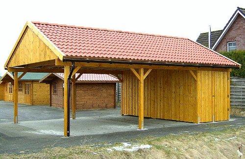 *Carport Satteldach LAS VEGAS 600x800cm Geräteraum – Holz: Leimbinder*