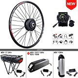 BAFANG 48V 500W Front Hub Motor Electric Bike Conversion Kit for 26inch Wheel Drive Engine with Display with Battery (P850C,Rear Battery 48V 17.5Ah)