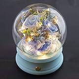 永遠の花の球状クリスタルボールのブルートゥースのスピーカーバレンタインの日520母の日の誕生日七夕ギフトギフト,ライトブルー