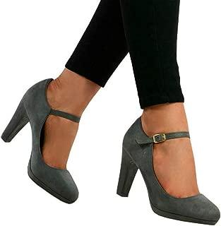 Seraih Womens Chunky Classic Round Toe Ankle Strap Pumps Mary Jane Block High Heel Platform