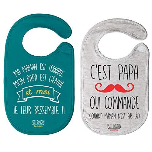 Petit Boucan - lot de 2 bavoirs bébé'Papa, Maman'unisexe - 100% coton doux - doublé en éponge coton très absorbant