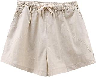 DressU Women's Pure Elastic Waist Summer Cotton Linen Silm Fit Beach Hot Pants