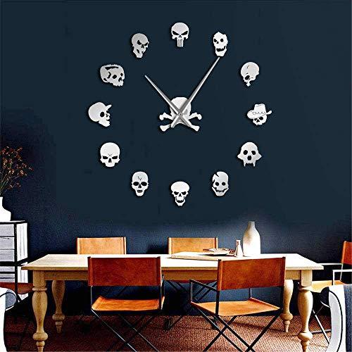 Djkaa verschillende doodskoppen DIY Horror wandklok, grote naald zonder frame, Zombie koppen grote wandklok Halloween decoratie (37 inch)