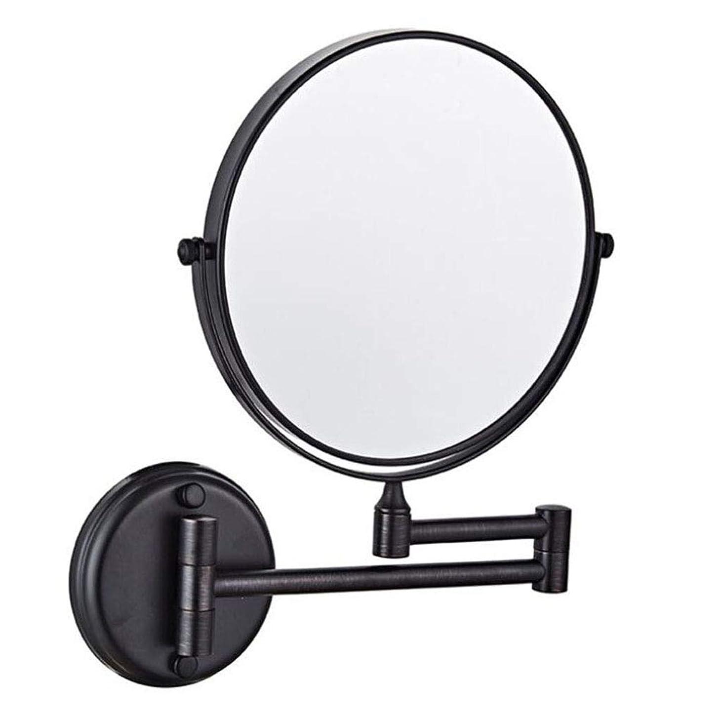 最悪概要自宅でHUYYA 化粧鏡 壁付、シェービングミラー 8インチ3 倍拡大鏡 バスルームメイクアップミラー 360度回転 バニティミラー 折りたたみ 両面 寝室や浴室に適しています,Black