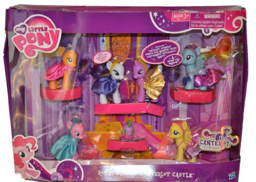 My Little Pony Exclusive Set Royal Ball At Canterlot Castle Twilight Sparkle, Pinkie Pie, Rainbow Dash, Fluttershy, Applejack, Rarity Spike the Dragon