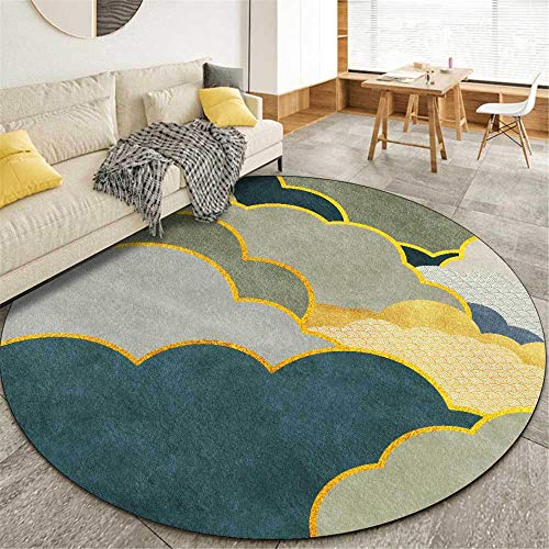 Alfombra verde redonda moderna y elegante Alfombra suave de estilo minimalista, para sala de estar, dormitorio, cocina, guardarropa, silla, alfombra, sofá, cabecera, habitación-100 cm de diámetro