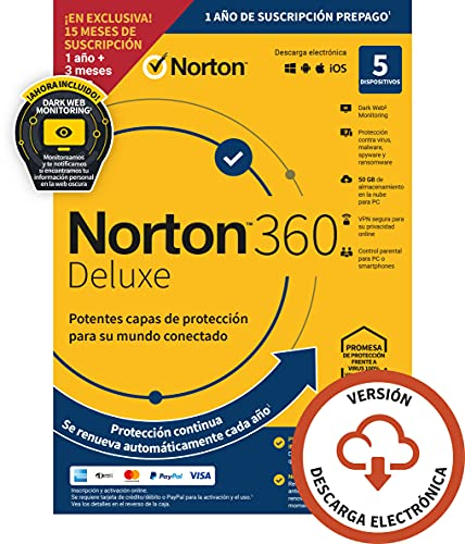 Norton 360 Deluxe 2021 - Antivirus software para 5...