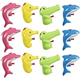 Blue Panda Mini Animal Squirt Guns - 12 Pack of Water Plastic Toys for Kids Bulk Summer Party Favors- Shark, Dolphin, Seahorse, Alligator Assorted Designs - Ages 6 and Up