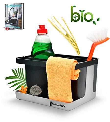 Luamex® Spülbecken Organizer aus Weizenstroh – Abtropfbehälter - Plastikfrei - Ordnungshelfer für Spülbecken – Utensilienhalter Küche – Küchen Organizer inkl. eBook