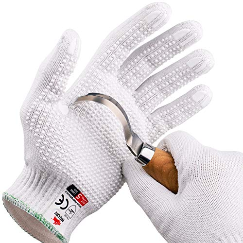 NoCry Cut Resistant Protective Work Gloves with Rubber Grip Dots. Tough and Durable Stainless Steel Material, EN388 Certified. 1 Pair. White, Size Medium