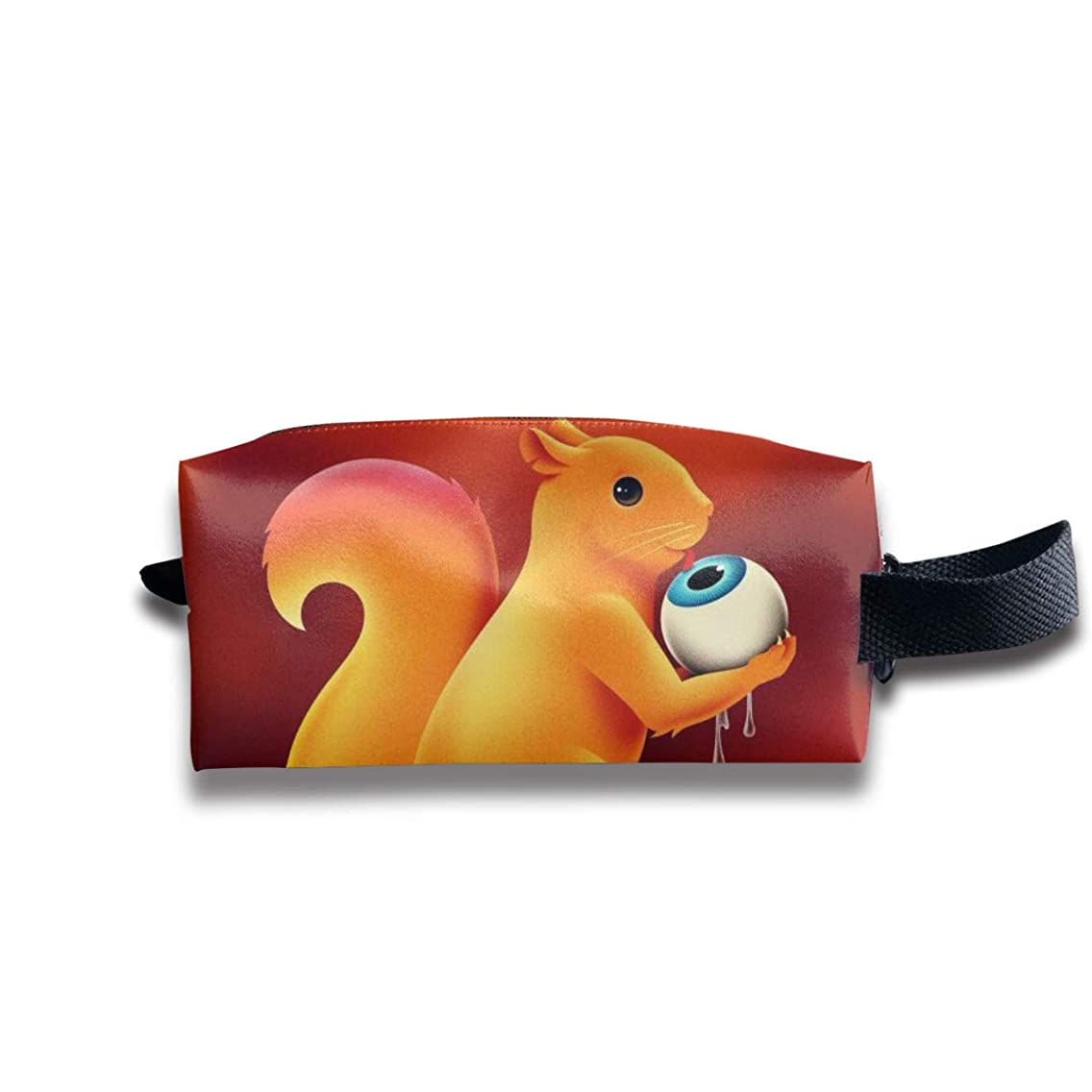 Unique Psychedelic Squirrel Portable Pencil Bag Coin Purse Pouch Stationery Storage Organizer Case Cosmetic Makeup Brush Holder with Durable Zipper for Students Office