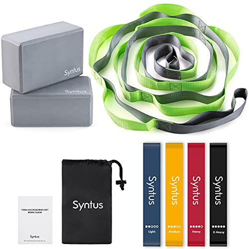 Syntus 9-in-1 Yoga Set, Complete with 1 Yoga Strap with 12 Loops, 2 EVA Foam Soft Non-Slip Yoga Blocks ,4 Resistance Bands with Instruction Book for Yoga