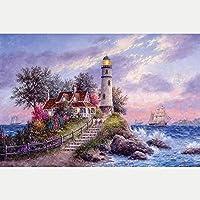 クロス ステッチ DIY 手作り刺繍キット 正確な図柄印刷クロスステッチ11CT 家庭刺繍装飾品 海辺の灯台 40X50CM