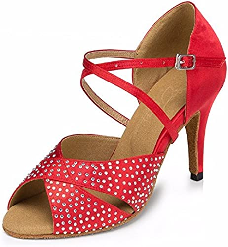 Masocking@ mujer zapatos de Baile Sandalias Tacón Alto de fondo blando rojo sat Rhinestoneing