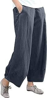 BBesty Big Sale Women's Summer Fashion Pure Color High Waist Wide Leg Pants Cotton Linen Trousers Loose Pants