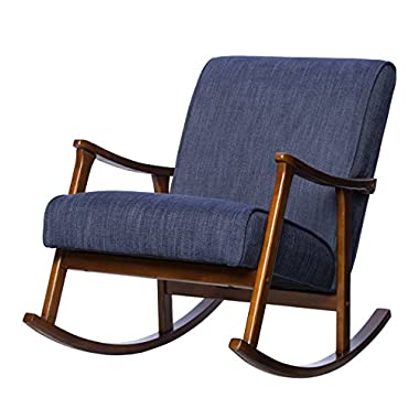 Mid Century Retro Wood Blue Fabric Upholstery Rocking Arm Chair with Solid Wood Frame in Walnut Finish - Includes Modhaus Living Pen