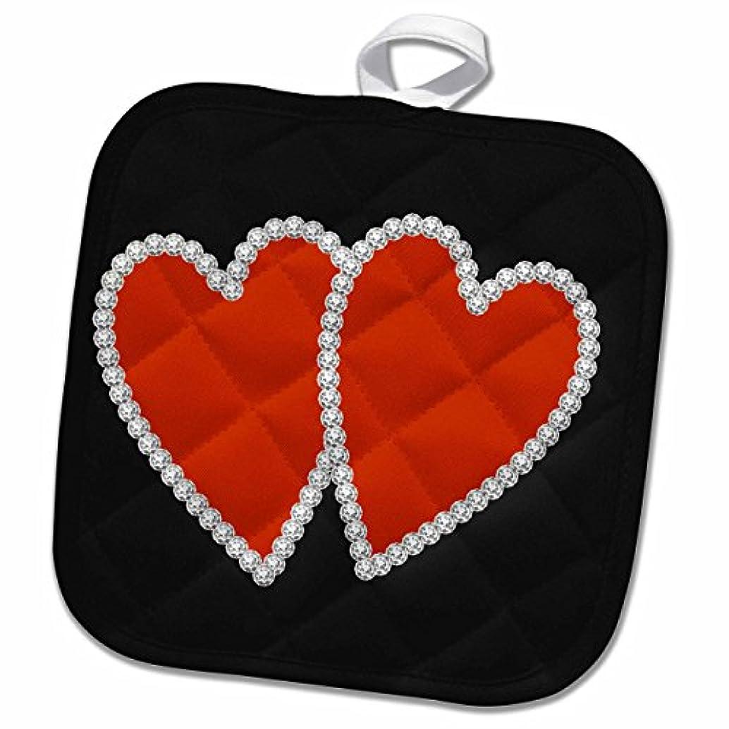 3D Rose Twp Red Diamond Edged Hearts Pot Holder, 8 x 8