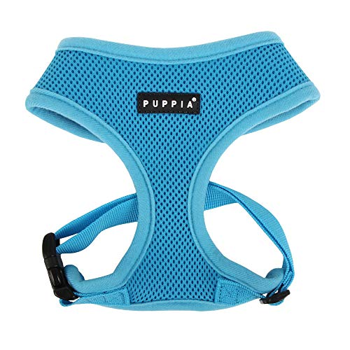 Puppia Soft Dog Harness No Choke Over-The-Head Triple Layered Breathable Mesh Adjustable Chest Belt and Quick-Release Buckle, Sky Blue, Medium