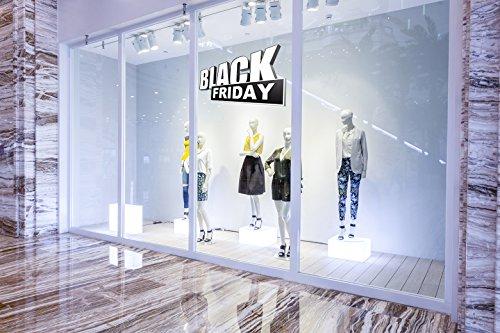 Oedim Vinilo Black Friday Escaparates Rebajas Blanco y Negro | 100 cm de Largo x 50 cm de Alto | Vinilo Adhesivo Escaparates para Negocios