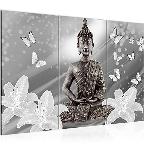Runa Art Bouddha Fleurs Peinture Tableau Salon XXL Noir Et Blanc Papillon 120 x 80 cm 3 Parties Decoracion Murale 505631c