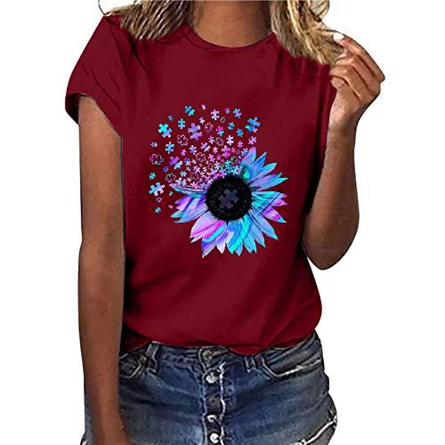 Camiseta para Mujer Estampado Creativo de Rompecabezas de Girasol Blusa Suelta con Cuello Redondo Informal, Tops, Manga Corta Ropa de Mujer en Tallas Grandes Tops Adecuado para el Uso Diario (